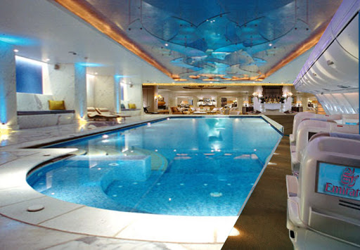 Pool of the Most expensive Private Jet in the world -Airbus 380
