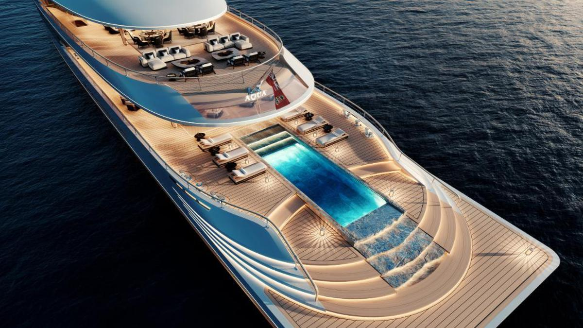 Futuristic Superyacht 1 – 376-Foot Futuristic Superyacht with Cascading Pool Near the Level of Water in the Sea