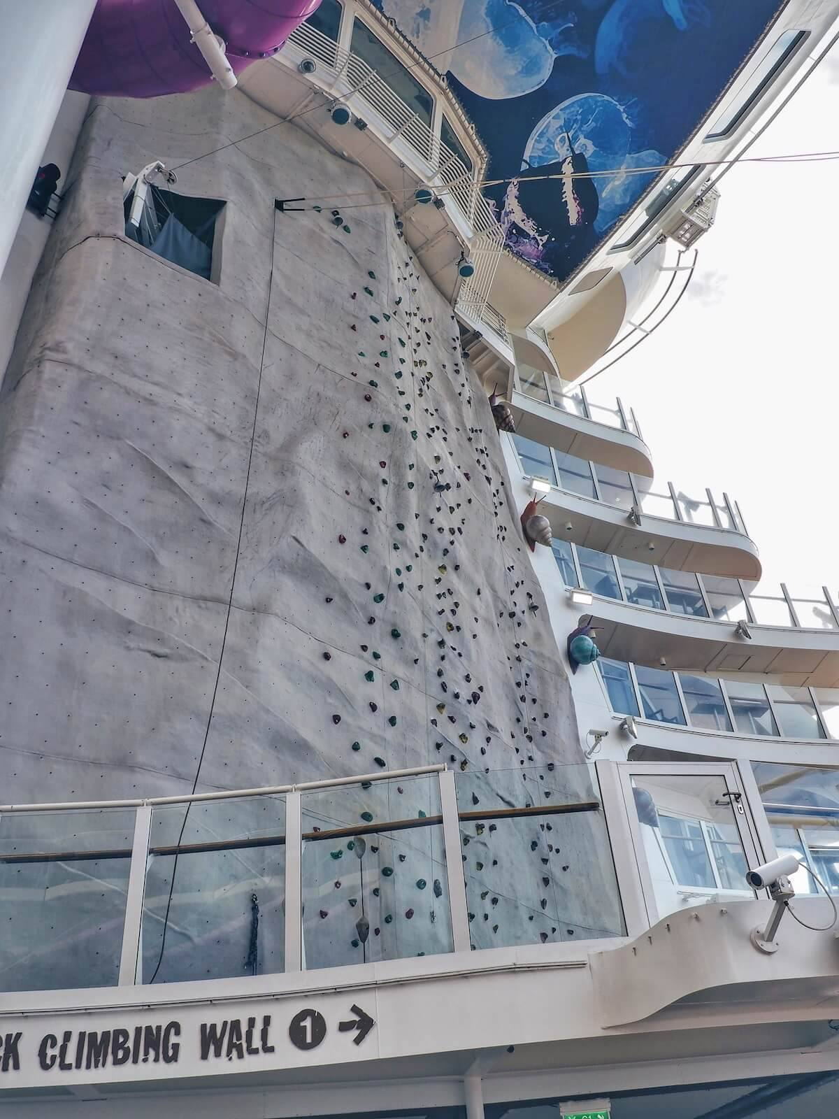 Climbing wall of the largest cruise ship
